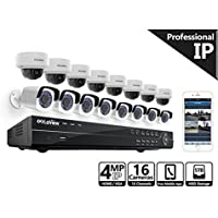 LaView 4-Megapixel (2688 x 1520) 16 Channel PoE 4K NVR HDMI - 16 Camera Security Camera System, 8 4MP Bullet & 8 4MP Dome IP Surveillance Cameras, 100ft Night Vision, Pre-Installed 5TB Hard Drive