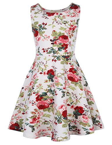 GRACE KARIN Sleeveless Vintage Floral Dresses Girls 8-9yrs CL487-1 White from GRACE KARIN