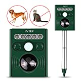 INTEY Ultrasonic Solar Powered Cat Repellent Animal Scarer Outdoor Waterproof Mole Dog Cat Deterrent for Yard, Lawn and Farm