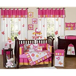 Sweet Jojo Designs Pink and Orange Butterfly Flower Baby Girl Bedding 9 pc Crib Set
