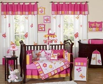 sweet jojo designs pink and orange butterfly flower baby girl bedding 9 pc crib set - Baby Girl Bedding