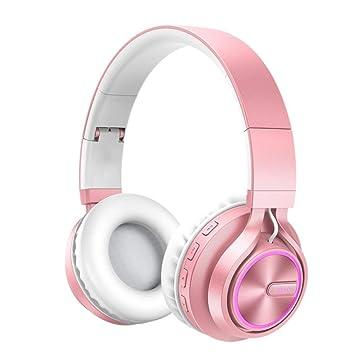 ZLAHY Auriculares Rose Gold Stereo HiFi Auricular Bluetooth 4.2 ...