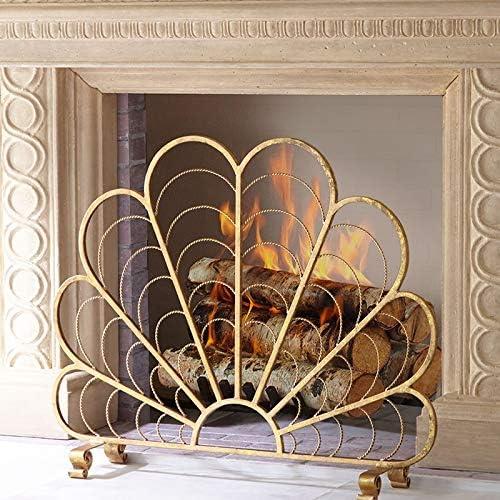 1パネルの錬鉄製暖炉スクリーン、扇形の金の大きなスパークガード、屋外の金属装飾メッシュカバー、ペットの赤ちゃんの安全性