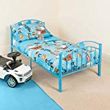 Blue Toddler Metal Bed Frame Kids Bedroom Furniture Childrens Bedframe Cars