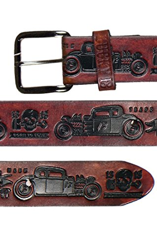 Lucky Embossed Belt (Lucky 13 Mens Coupe 13 Embossed Leather Belt Antiqued)