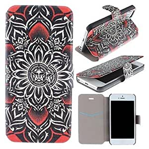 GHK - Obey Sun Flowers Pattern Clamshell PU Leather Full Body Case with Card Slot for iPhone 5/5S