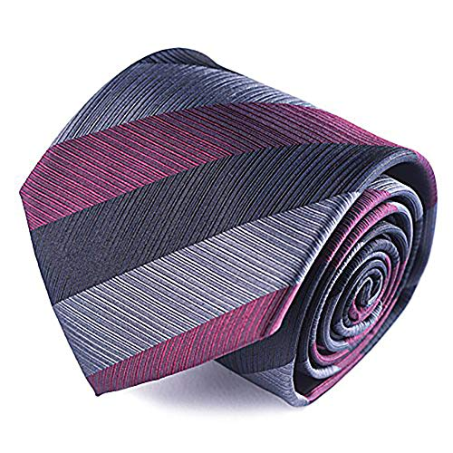 Qobod 100% Silk Necktie Mens Handmade Striped Tie Gift Boxed black grey red burgundy college ()