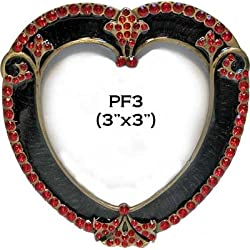 Vintage Heart Shaped Red Rhinestones Accent Black Enamel Metal Picture Frame (3x3)