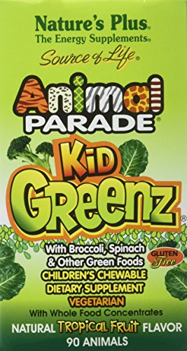Animal Parade With Broccoli, Spinach, & Other Green Foods. Children's Chewable s Dietary Supplement Kidgreenz Nature's Plus 90 Tabs