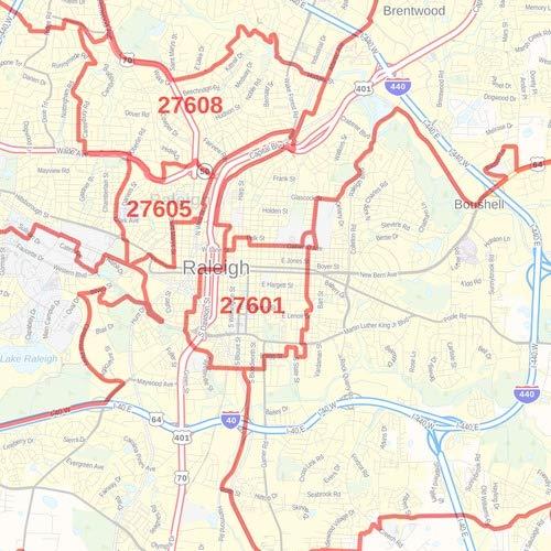 48 x 36 Paper Wall Map North Carolina ZIP Codes Wake County ...