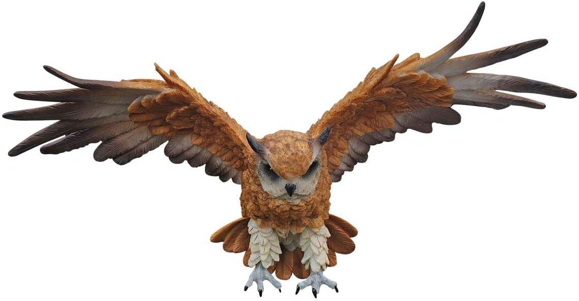 Deko Figur Greifvogel Habicht H 37 cm stehend Vogel Gartenfigur aus Kunstharz
