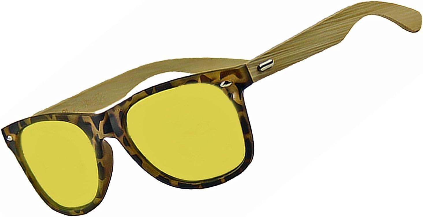 Bamboo Polarized Lens Retro Square Sunglasses Wooden Arm Glasses UV Protect
