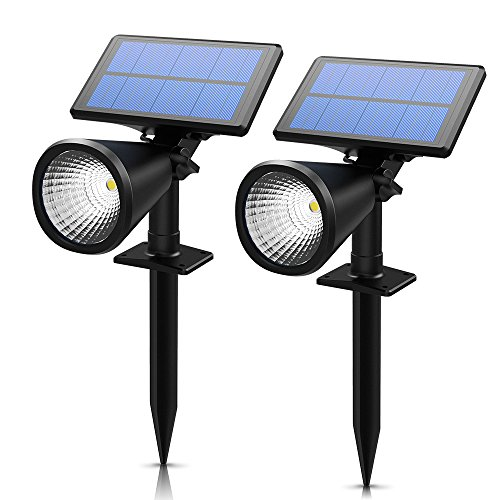 LITOM Outdoor Solar Landscape Spotlights Spot Lights 2-in-1 Adjustable LED Solar Powered Wall Lights Bright & Dim Sensing Auto On/Off Security Night Lights for Garden Patio Yard Driveway Pool 2 Pack