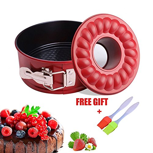 7 inch Springform Cake Pan Non stick Baking Bundt Pans for Instant Pot 5,6,8 Qt with 2 Removable Bottom and Silicone Brush Leakproof Cheesecake Bakeware by Fish&Fairy