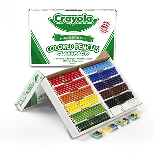 - Crayola 68-8024  Colored Pencil Bulk Classpack, 12 Assorted Colors, 240 Count, Standard, Assorted.