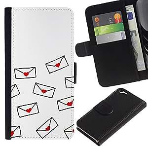 EuroTech - Apple Iphone 6 4.7 - Love Letter Valentines Minimalist White - Cuero PU Delgado caso Billetera cubierta Shell Armor Funda Case Cover Wallet Credit Card