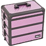 Sunrise E3303 Pro 3-in-1 Makeup Artist Cosmetic Train Case Organizer with 3 Stackable Trays with Dividers, Diamond Purple