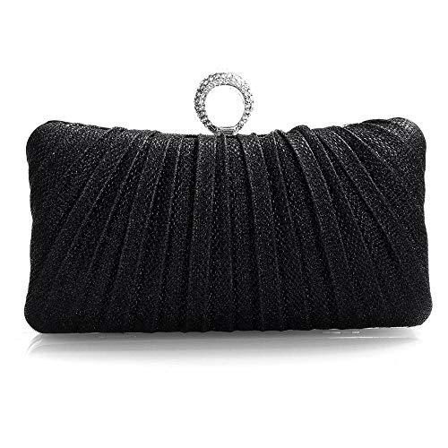 Women Evening Handbag Elegant Chic Clutch Bag Party Wedding Clutch Purse with Rhinestone as Gift (Black) ()