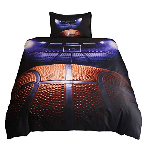 Lldaily 3D Sports Basketball Court Bedding Set for Teen Boys,Duvet Cover Sets with Pillowcases,Twin Size,2PCS,1 Duvet Cover+1 Pillow Shams,(Comforter not Included) (Sheet Set Twin Nba Basketball)