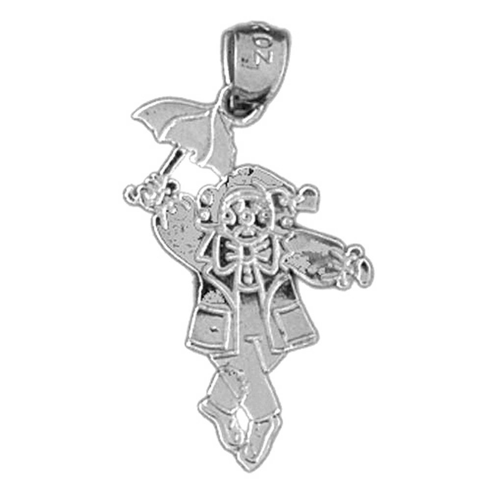 Jewels Obsession Teddy Bear With Umbrella Pendant 25 mm Sterling Silver 925 Teddy Bear With Umbrella Pendant