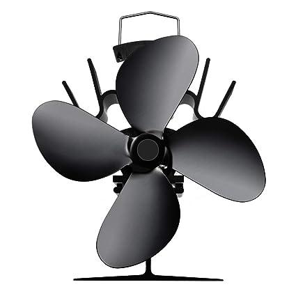 Ventilador Estufa de Leña, Domybest Invierno Ventilador de 4 Aspas para Chimenea y Estufa de