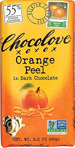Chocolove Orange Peel in Dark Chocolate Bar, 3.2 Ounce (Pack of 12)