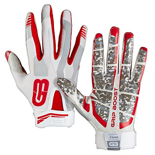 Grip Boost Stealth Football Gloves Pro Elite (red, Medium) (Ohio Football State Youth Gloves)