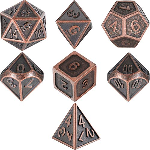 Frienda Zinc Alloy Metal Polyhedral 7-Die Dice Set for Dungeons and Dragons RPG Dice Gaming D&D Math Teaching, d20, d12, 2 Pieces d10 (00-90 and 0-9), d8, d6 and d4 (New Antique Copper)