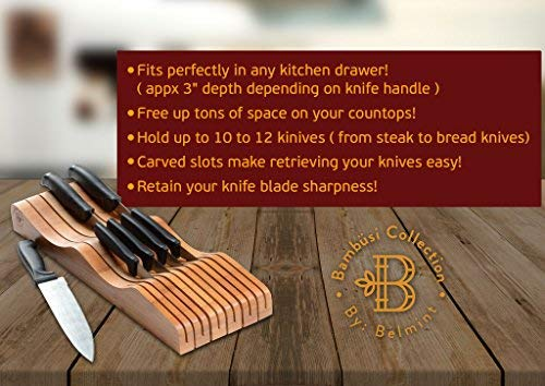 Bamboo Knife Block In-Drawer Kitchen knife Organizer, Wooden