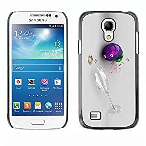 Uva Champagne Vino 3D divertido borracho- Metal de aluminio y de plástico duro Caja del teléfono - Negro - Samsung Galaxy S4 Mini i9190 (NOT S4)