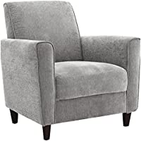 Sturdy and Durable and Comfortable Enzo Contemporary Style Accent Arm Chair III with Removable Seat Cushion (Charcoal)