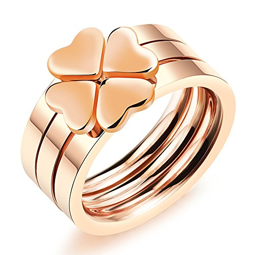 - Qindishijia Lovers Lucky Clover Rings - Rose Gold Three Piece Combination Heart Shaped Ring (9)