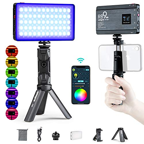 RGB Camera Video Light, App Control Built-in 12W Rechargeable Battery LED On Camera Light for RGB Photography Lighting…