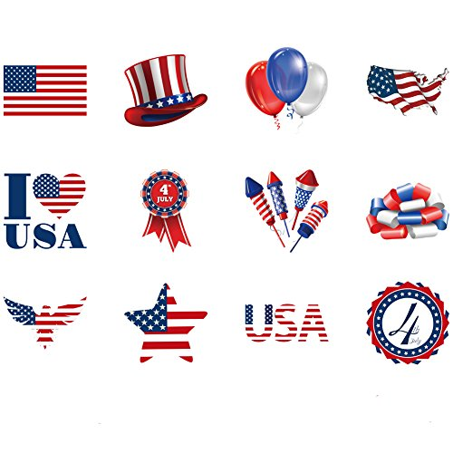 Patriotic Tattoos Glow In The Dark Tattoos Fourth of July Tattoos For Independence Day 144 Pack 1.5