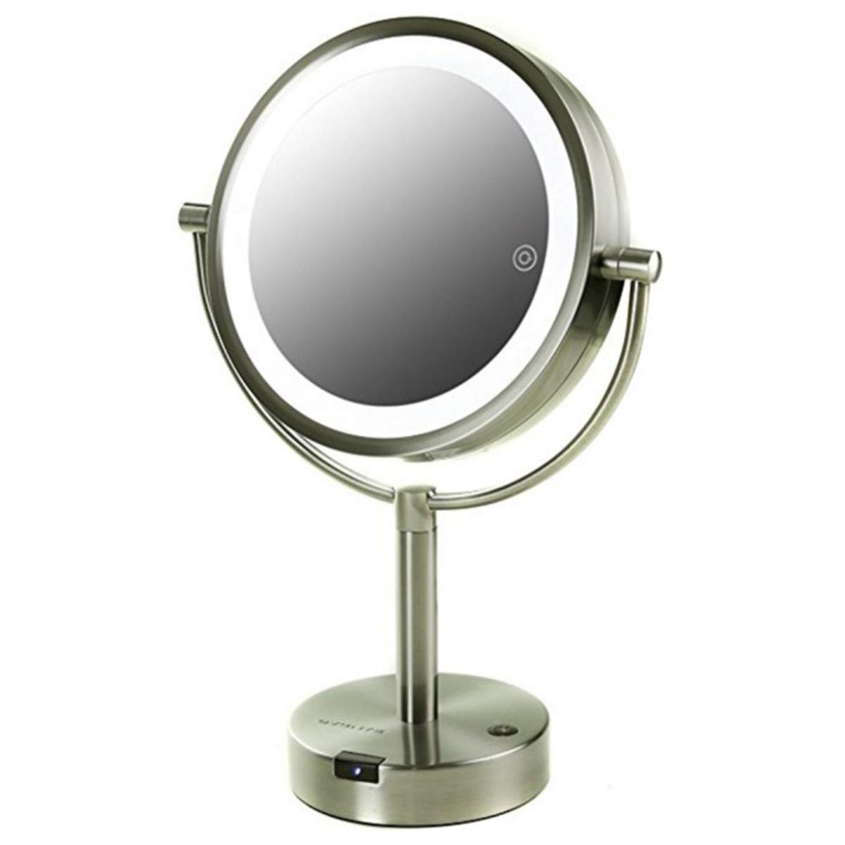 Ovente Table Top Makeup Vanity 360 Degree Rotation Mirror 8.5 Inch 1X, Full View 5X Magnification, 3 Tones LED Lights with Smart Touch Button, and USB Adapter Operated Nickel Brush MPTS8385BR1X5X
