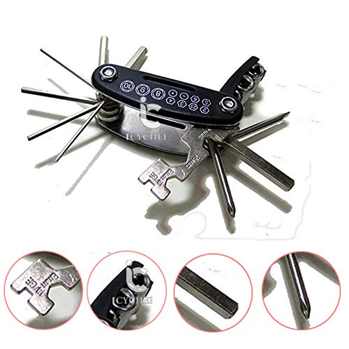 ICYCHEER 15 in 1 Multi Function Bicycle Repair Tool Kit Bike Bicycle Combination Repair Tool Cycling Mechanic Tire Patch Hand Tools Folding Multitool