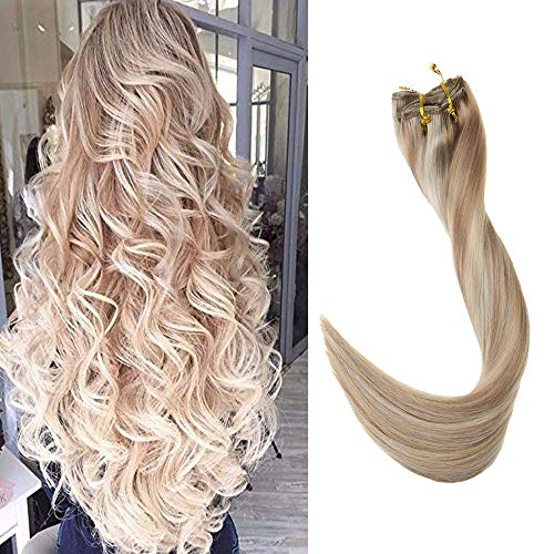 Full Shine 22 inch Clip Ins Real Human Hair Silky Straight Color #18 Ash Blonde Highlight Color #24 and Color #60 Double Weft Clip Hair Extensions Remy Hair 9 Pieces 100 grams Per Package