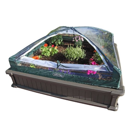 Lifetime 60053 Raised Garde Bed Kit, 2 Beds and 1 Early Start Vinyl Enclosure (Bed Soil Garden Raised)