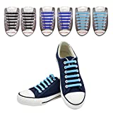 SENT CHARM Elastic No Tie Shoelaces Silicone Tieless Colored Kids Shoe Laces for Sneakers Board Shoes and Casual Shoes(3Pack,Black+Blue+Sky Blue)