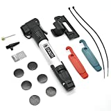 KONKY Mini Bike Pump-Mini Micro Hand Air Pump with Glueless Puncture Repair Kit-Portable Bicycle Pump with Frame Mount Fits Schrader &Presta Dual Head 120 PSI for Mountain Bikes Various Balls and Toys