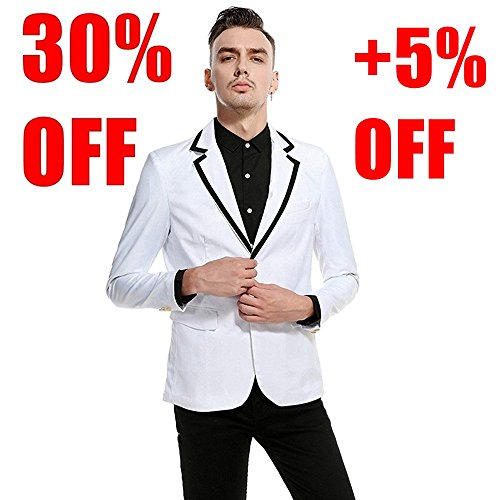 WEEN CHARM Mens Casual Stylish Slim Fit Two Button Notched Lapel Single Breasted Blazer Jacket Sport Coat White XL ()