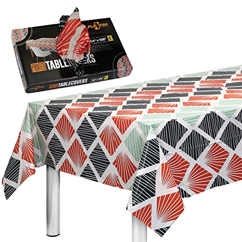 Disposable Plastic Tablecloths Fully Printed - Size 54 X 108 Inches - 13 Table Covers - for an 8 Foot Rectangle Picnic Party Table