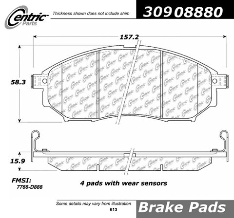 Power Slot Brake Pad Street Performance Fmsi Number D888 Para-Aramid Composite S - Q45 Power Slot