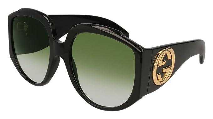 Gucci GG0151S 001, Gafas de Sol para Mujer, Negro (Black/Green)