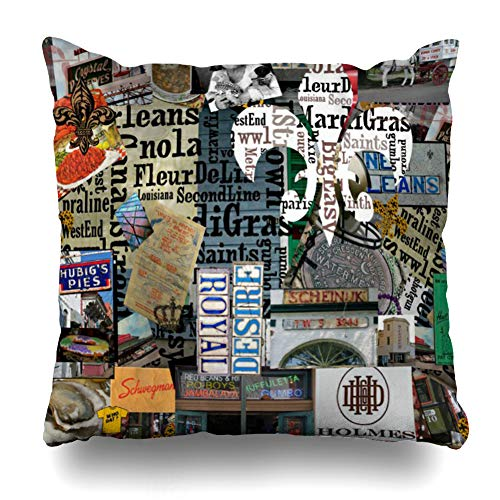 - Ahawoso Throw Pillow Cover Square 24x24 Inches Miss Gaga Sunny Nola Originals Collage Art Fleur De Lis Decorative Pillow Case Home Decor Pillowcase