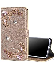 """EnjoyCase Bling Case for iPhone 11 6.1"""",Shiny Glitter Diamond Wallet Case with Kickstand Card Slots Magnetic Closure Butterfly Flower Flip Leather Case for iPhone 11 6.1"""",Gold"""