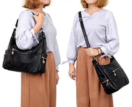 Hobo Multi PU Black Shoulder Style Bag Pocktets Purse Leather Women UTO Handbag w0XqEXA