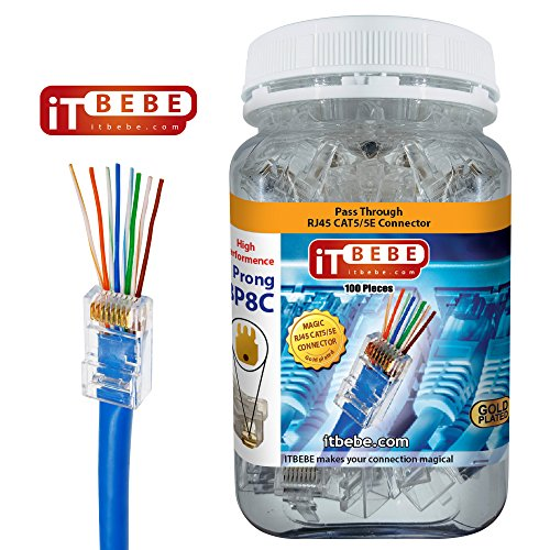 ITBEBE Gold Plated RJ45 cat5, cat5e 8P8C 100 pieces Pass Through 3 Micron 3u 3 Prong premium Connectors by itbebe.com