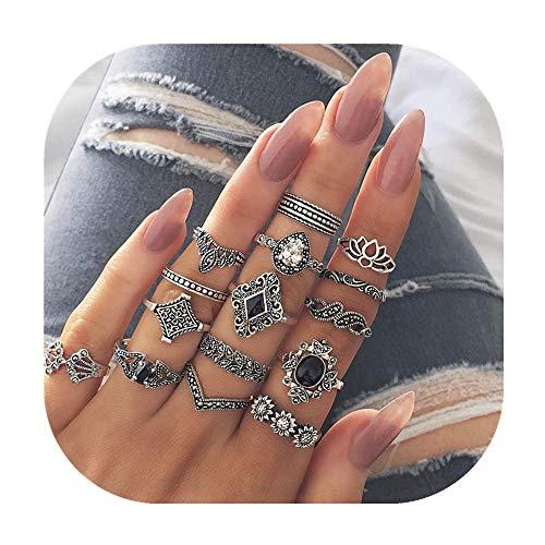 Fashion Flower Ring Rhinestone (ZhaoGe 15 Pcs Vintage Flower Knuckle Ring Set Bohemian Retro Black Rhinestone Joint Knuckle Nail Midi Ring Finger Rings Set)