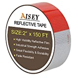 """2"""" X 150ft Reflective Tape Red White DOT C2 Reflector Safety Tape - Reflective Safety Stickers Waterproof for Trailers Vehicles Trucks Cars Motorcycles Bicycles - by AMOXI"""
